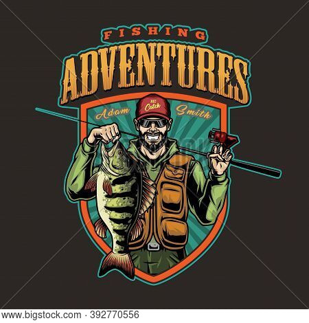 Fishing Colorful Vintage Badge With Smiling Bearded Fisherman Holding Big Perch And Fishing Rod Isol