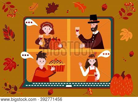 Thanksgiving Online Party. Virtual Meet Group To Celebrate Festival. People In Pilgrim And Indian Co