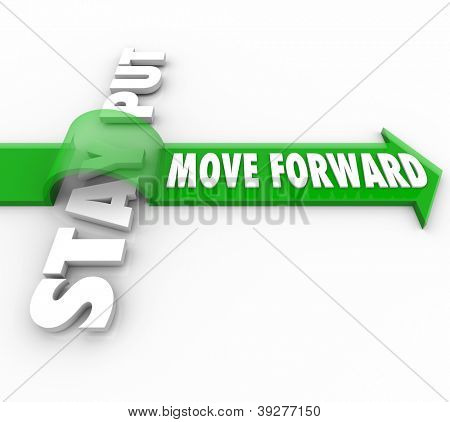 The words Move Forward riding an arrow over Stay Put to symbolize the victory of progressive action over inertia and inanction in being persistent in making progress in reaching a goal or mission poster