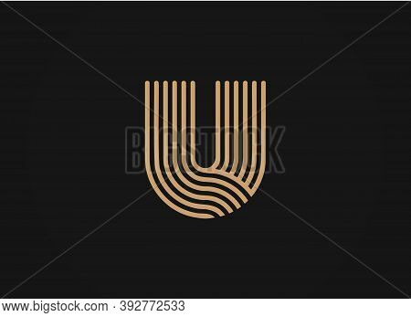 U Letter Logo, Vector Smooth Parallel Thin Lines Art Style, Sleek Linear Shape, Minimal Overlapping