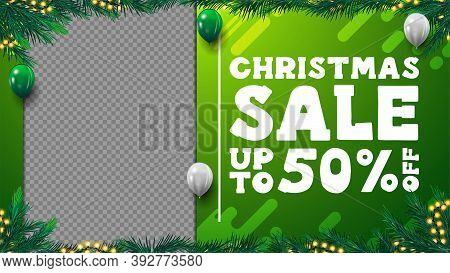Green Christmas Discount Blank Template For Your Creativity With Frame Of Christmas Tree Branches, G