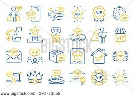 Vip Line Icons. Casino Chips, Very Important Person, Delivery Parcel. Certificate, Player Table, Vip