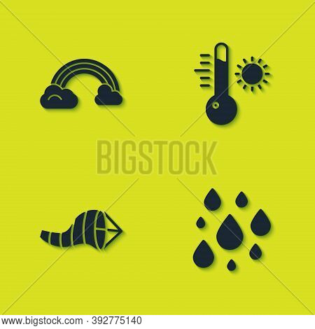 Set Rainbow With Clouds, Water Drop, Cone Meteorology Windsock Wind Vane And Meteorology Thermometer