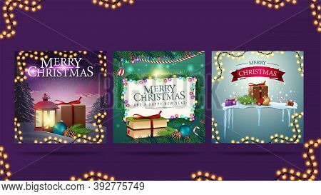 Christmas Greeting Square Postcards With Christmas Presents, Garlands And Christmas Decorations