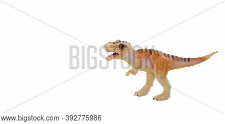 Toy Dinosaur Model Isolated On White Background. Paleontology. Dinosaur Excavation. Fossil.