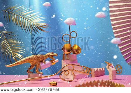 Monumental Composition With Dinosaur, Egg, Cosmetic Oil For The Face With Catwalks, Stairs, Palm Lea