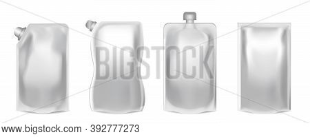 Realistic Detailed 3d Blank Doy Pack Empty Template Set. Vector Illustration Of Doypack Food Flexibl