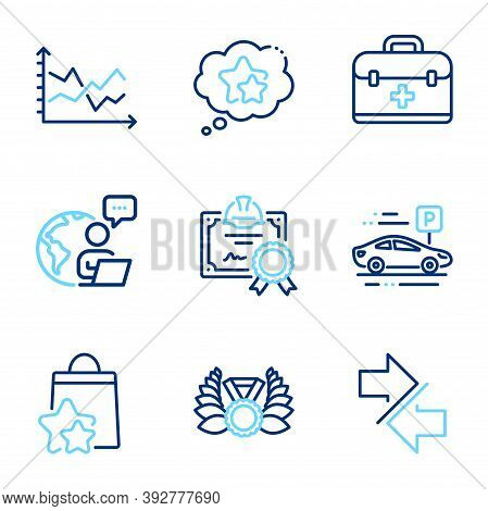 Business Icons Set. Included Icon As Car Parking, Loyalty Points, Synchronize Signs. Laureate Medal,