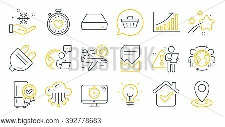 Set Of Technology Icons, Such As Shopping Cart, Certified Refrigerator, Mini Pc Symbols. Global Busi