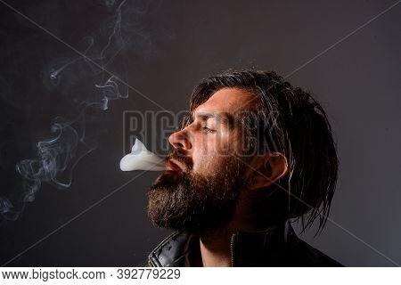 Handsome Bearded Man Smoking. Cigarette Smoke. Tobacco. Smoking Hipster. Brutal Bearded Man With Cig