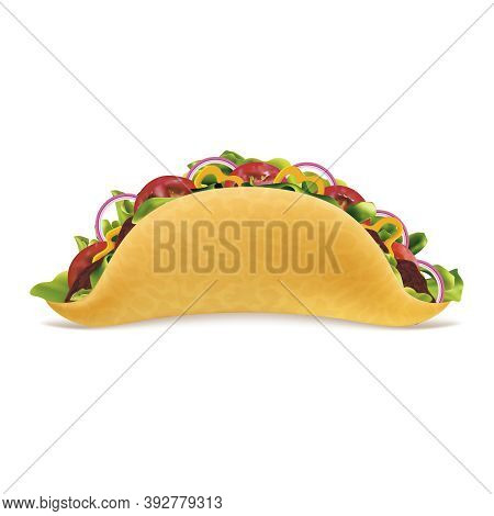 Realistic Detailed 3d Tacos Meat With Meat And Vegetable Traditional Mexican Fast Food Concept. Vect