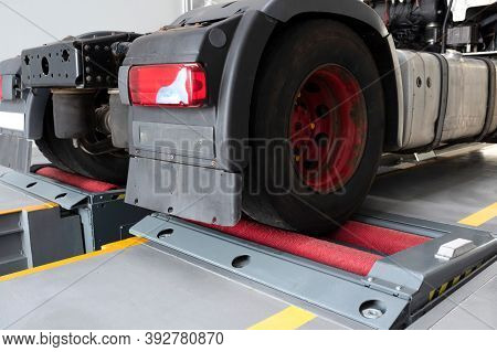 Truck In A Car Service For Service. Repair And Maintenance Of Trucks, Wheel Alignment. Car Service C