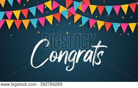 Congratulations Abstract Design Template Background With Garland Flags. Vector Illustration