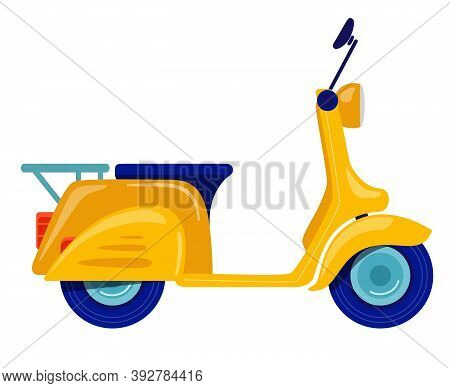 Yellow Motorcycle, Scooter, Moped Drawn In Flat Style. Vector Illustration Isolated On White Backgro