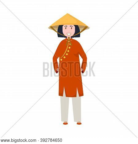 Isolated Object Of Vietnamese And Woman Symbol. Collection Of Vietnamese And Girl Stock Symbol For W