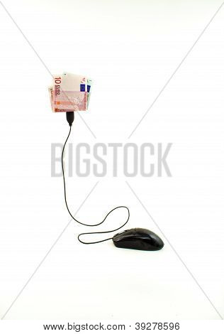 Mouse connected to grades five and ten euros