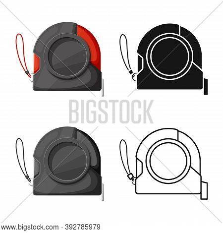 Vector Illustration Of Roulette And Tape Logo. Graphic Of Roulette And Measuring Stock Symbol For We