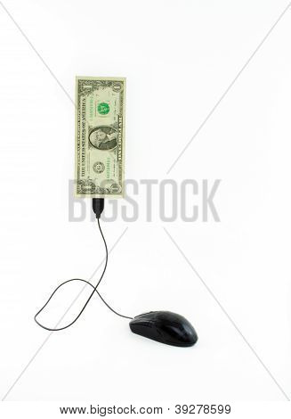 Mouse connected to one dollar note