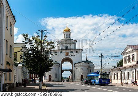 Vladimir, Russia, July 28, 2020. Golden Gate In Vladimir. Tourist Attractions Of Russian Cities Of T