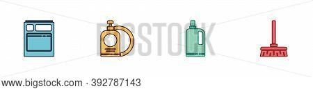 Set Kitchen Dishwasher Machine, Dishwashing Liquid Bottle And Plate, Fabric Softener And Handle Broo
