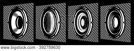 A Set Of Different Monochrome Speakers. Vector Illustration. Elements For Design. Carbon Fiber Backg