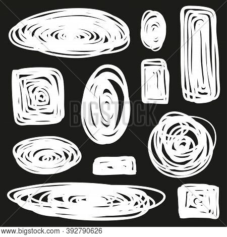 Tangled Geometric Shapes. Hand Drawn Scrawls. Black And White Illustration