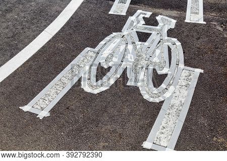Preparing For Thermoplastic Bicycle Path Painting, White Line Asphalt.
