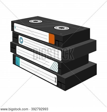 Vector Illustration Of Cassette And Videotape Logo. Graphic Of Cassette And Stack Stock Symbol For W