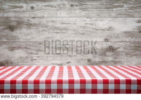 Italian Cooking Template - Blank Table With A Red Checked Tablecloth On The Blurred Wooden Vintage P