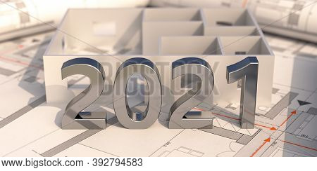 New Year 2021 Shiny Metal Number On Construction Project Blueprint. 3D Illustration