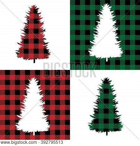 Tree Pattern At Buffalo Plaid. Festive Background For Design And Print