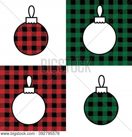 Christmas Ball Pattern At Buffalo Plaid. Festive Background For Design And Print