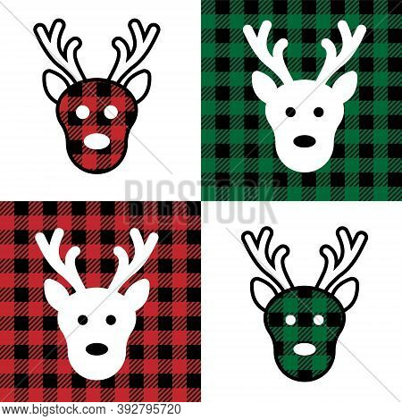 Deer Pattern At Buffalo Plaid. Festive Background For Design And Print