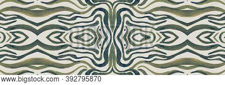 Seamless Animal Border. Zebra Stripes. Fashion Jungle Print. Horizontal African Background. Ink Wild