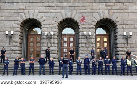 Sofia, Bulgaria - 2 September, 2020: Policemen And Policewomen Guard The Parliament Building During