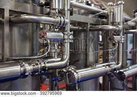 Industrial Cleaning System Pipes. Sustainable Industrial Cleaning, Deposit And Slime Removal.