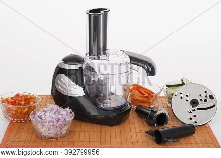 Food Processor With Accessories On White Background.