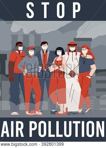 Stop Air Pollution Banner Or Poster Template With Cartoon People On Smog Polluted Urban Landscape Ba