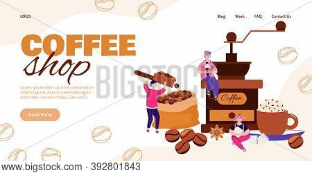 Coffee Shop Miniature Workers And Customers Landing Page For Internet Website. Small People Characte