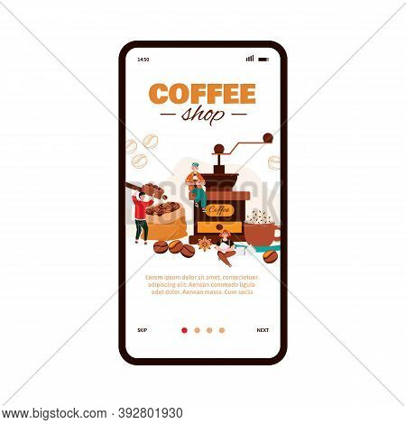 Miniature People In Coffee Shop Making And Drinking Coffee Onboarding Page For Mobile App. Small Caf