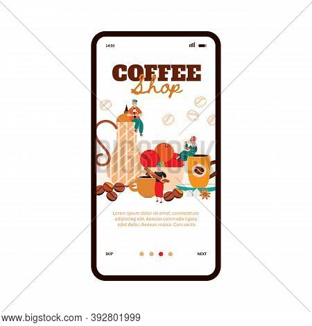 Small People In Cozy Coffee Shop With Big Elements Of Cafe Onboarding Page For Mobile App. Miniature