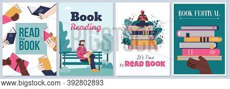 Social Media Posters Or Cards Set With Cartoon People Reading Books, Flat Vector Illustration. Brigh
