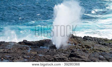 Blowhole At Suarez Point On Galapagos