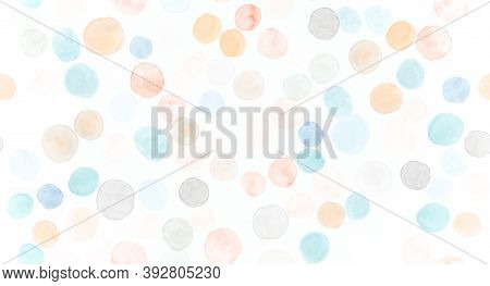 Seamless Circle Pattern. Orange Watercolour Stains Element. Cute Watercolour Stains. Baby Radial Con