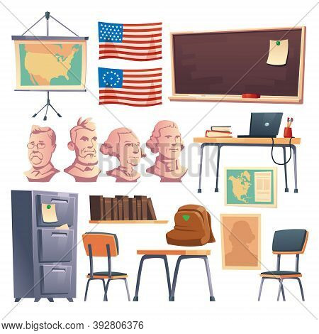 School Cabinet Of History Interior Furniture And Stuff. Teacher Table With Laptop, Blackboard, Backp