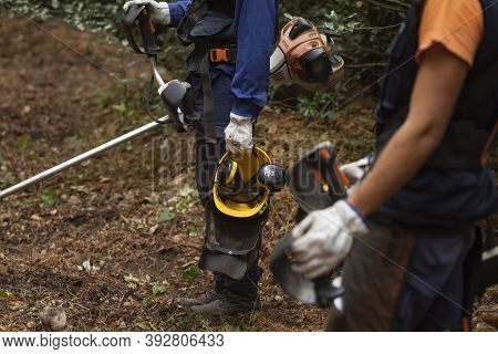 Moncayo, Spain - October 14, 2020: Workers Of The Forest Fire Prevention Service, Dept. Of Rural Dev