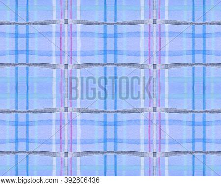 Blue Check Print. Watercolor Tartan Pattern. Retro Traditional Stripes For Man Print. Seamless Pink