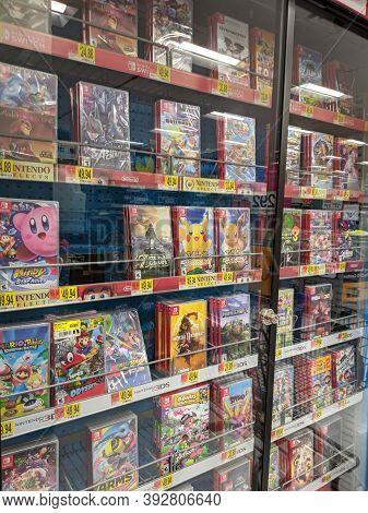 Honolulu -  October 28, 2019:  Nintendo Switch Games Like Mario, Pokemon, Mortal Kombat, Lion King,