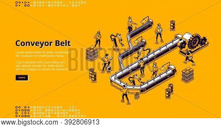 Conveyor Belt At Factory, Plant Or Warehouse. Workshop Production Line With Automated Machinery. Vec