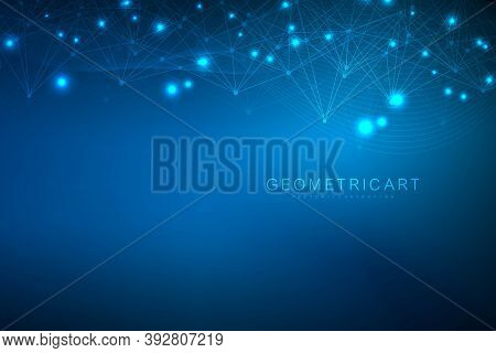 Geometric Abstract Background With Connected Line And Dots. Structure Molecule And Communication. Bi